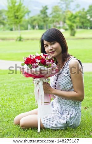 Beautiful woman in love. - stock photo