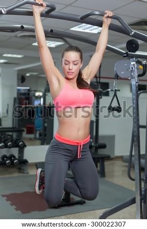 Beautiful Woman in Modern Fitness Club - stock photo