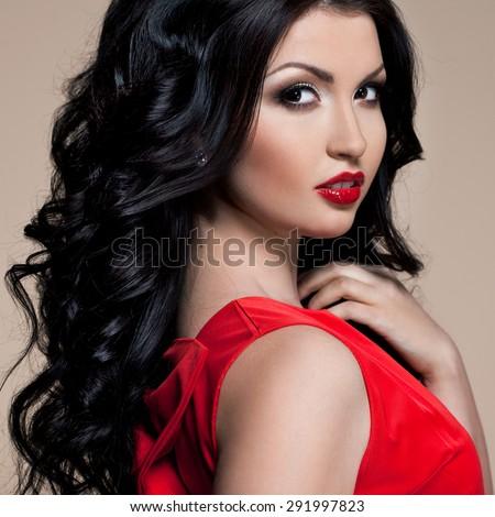 beautiful woman in red dress  - stock photo