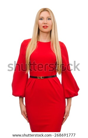 Beautiful woman in red long dress isolated on white - stock photo