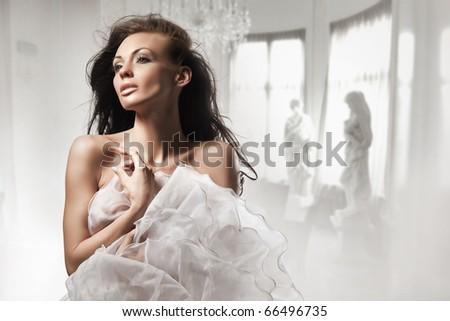 Beautiful woman in stylish interior - stock photo