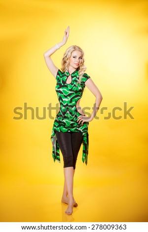 Beautiful woman in summer dress bikini model beach fashion, fitness girl swimwear, Studio portrait isolated. series - stock photo