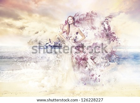 Beautiful woman in the sea between high waves painted with watercolors - stock photo