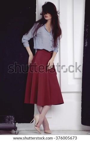 beautiful woman  in the studio. Fashion life - stock photo