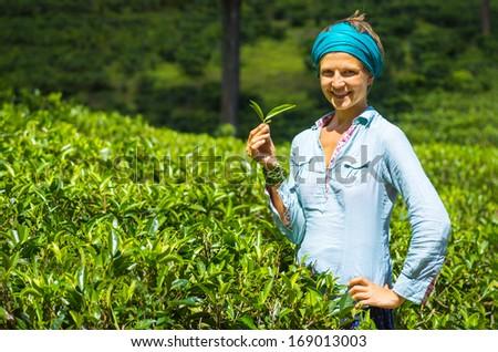 Beautiful woman in the tea plantation - stock photo