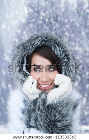 Beautiful Woman In Warm Clothing. Cold winter. - stock photo