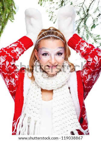 beautiful woman in warm clothing with white mitten - stock photo