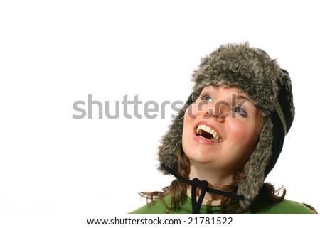 Beautiful woman in wool cap - stock photo