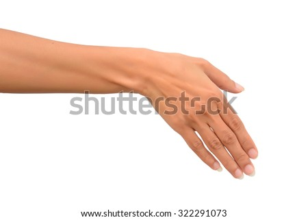 Beautiful woman is reaching out so it can shake hands. Isolated on white background - stock photo