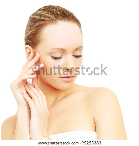 Beautiful woman isolated - harmony and spa concept - stock photo
