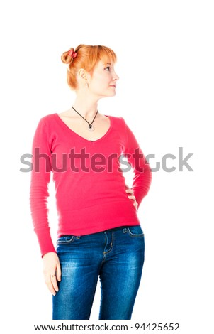 beautiful woman isolated on a white background - stock photo