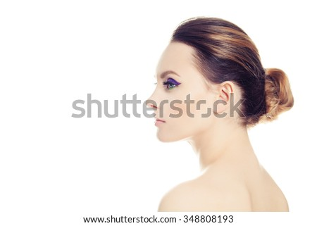 Beautiful Woman Isolated on White. Profile - stock photo