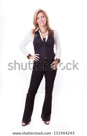 Beautiful Woman Isolated on white smiling at camera - stock photo