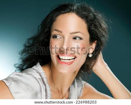 Beautiful woman laughing - close up. - stock photo