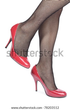 Beautiful woman legs wearing heel shoes & tights - stock photo