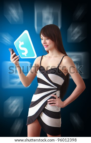 Beautiful woman look at the Money icon from mobile phone - stock photo