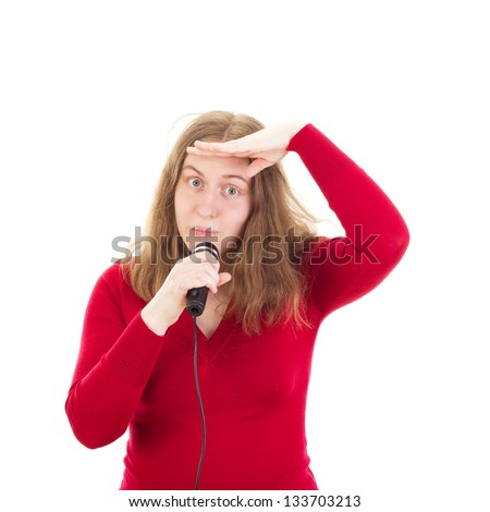 Beautiful woman looking for somebody - stock photo