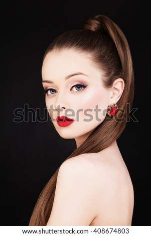 Beautiful Woman. Makeup and Long Healthy Hairstyle - stock photo