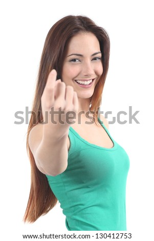 Beautiful woman making a beckoning gesture on a white isolated background - stock photo