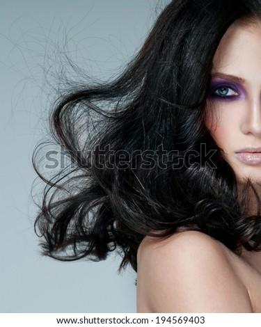 beautiful woman model with professional makeup - stock photo