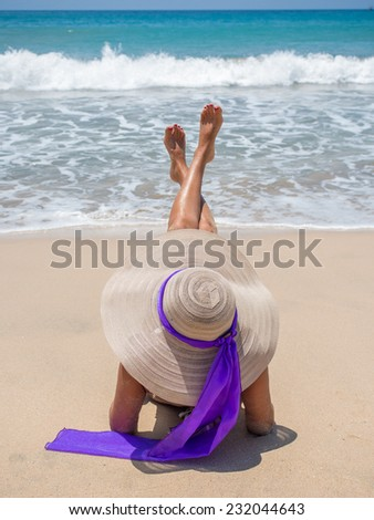 Beautiful woman on the beach. Bali Indonesia. - stock photo