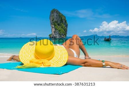 Beautiful woman on the beach. Poda island. Thailand - stock photo