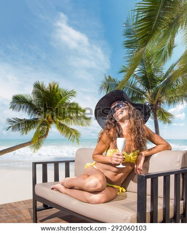 Beautiful woman on the beach. Thailand. - stock photo