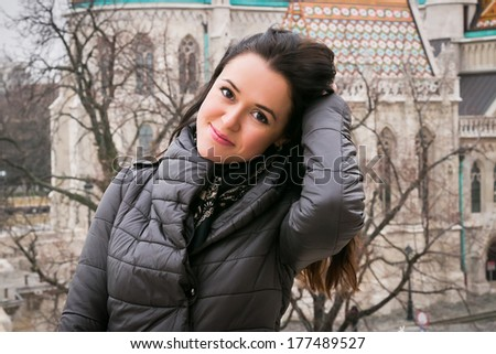 Beautiful woman on the street - stock photo