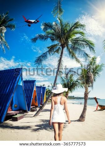 Beautiful woman on the tropical beach. Thailand. - stock photo