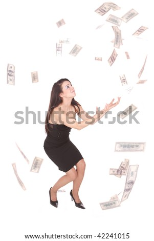 Beautiful woman on white background with hundred  dollars bills falling around her - stock photo