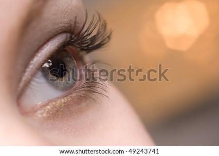 beautiful woman open eye closeup - stock photo