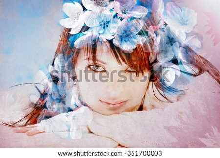 Beautiful woman over flowers - textured old paper background - stock photo