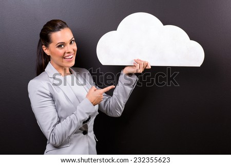 beautiful woman pointing white cloud shape  - stock photo