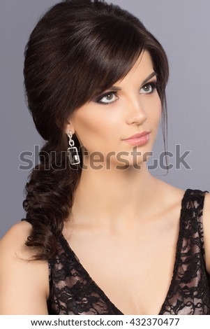 Beautiful woman portrai with evening make-up. Fashion photo - stock photo