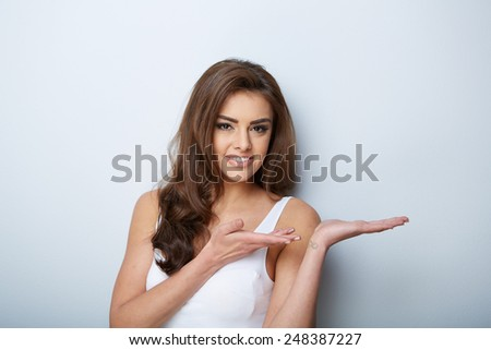Beautiful Woman Portrait. Beauty Girl. Fresh Skin.Isolated on a White Background. Skincare.Spa - stock photo