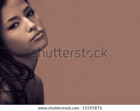 beautiful woman portrait, duo colors - stock photo