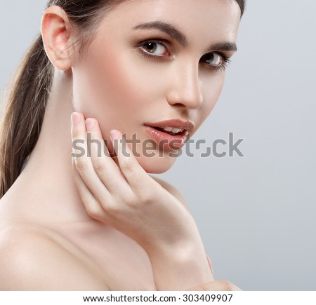 Beautiful woman portrait face studio on white  - stock photo