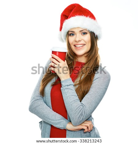 Beautiful woman portrait in Christmas style. White background. Santa girl hold coffee cup. - stock photo