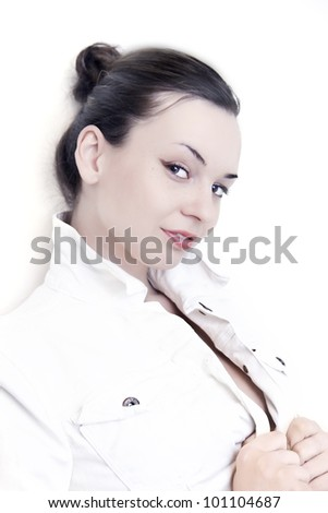 Beautiful woman portrait isolated - stock photo