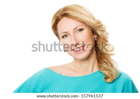 Beautiful woman portrait over white background  - stock photo