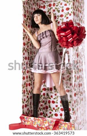 Beautiful woman posing like mannequin - stock photo