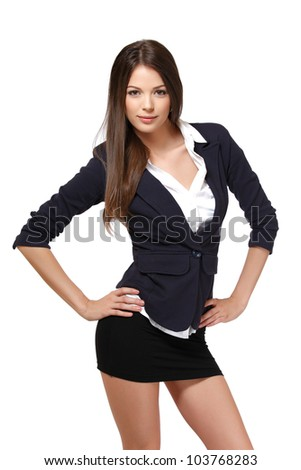 beautiful woman posing on white background - stock photo
