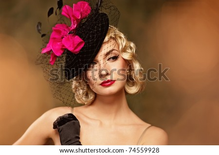 Beautiful woman retro portrait - stock photo