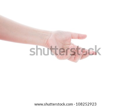 Beautiful woman's hand, palm up isolated on white background - stock photo