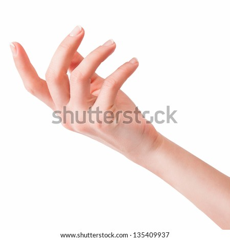 beautiful woman's hand, palm up. Isolated on white background - stock photo