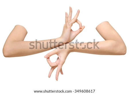 Beautiful woman's hands on the white background,thai dance - stock photo