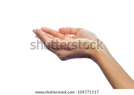 Beautiful woman's hands open. Isolated on white background - stock photo