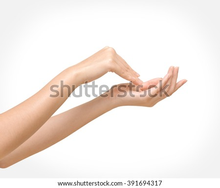 Beautiful woman's hands with clipping path - stock photo