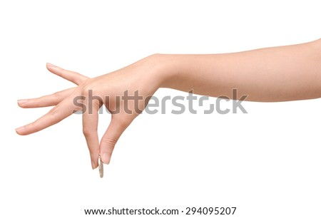 beautiful woman's holding the coin with clipping path - stock photo