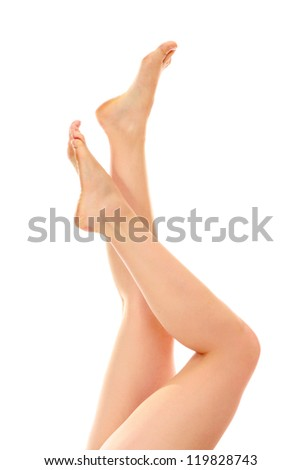 Beautiful woman's legs, isolated on white background - stock photo